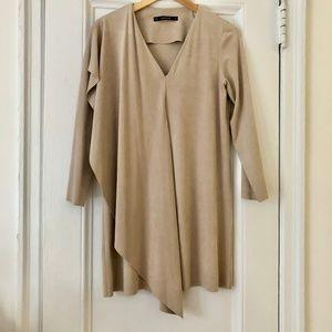 Zara Suede V Neck Dress